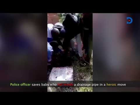 Tanzanian officer saves little baby who fell in a drainage hole