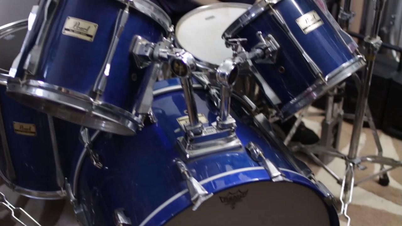 7 Piece Blue Pearl Drum Set For Sale