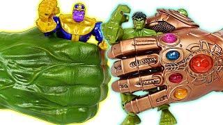Marvel Avengers Infinity War Hulk gamma grip fist VS Thanos Infinity gauntlet battle! - DuDuPopTOY