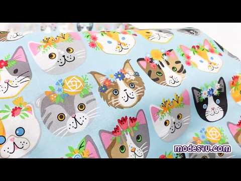 Sky Blue Robert Kaufman Fabric Funny Cute Cat Face Flower