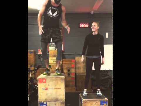 AJ Cook and Nathan Andersen  Synchronized box jumps