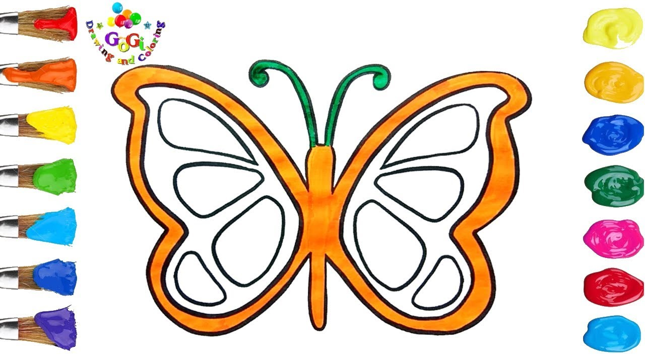 butterfly drawing and coloring page for kids new youtube video
