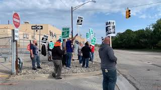 UAW-represented janitoral workers strike outside of General Motors