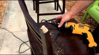 Fixing wood dowels on a broken chair