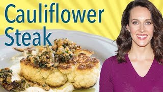 Cauliflower Steak with Walnut-Caper Salsa & Tahini Puree -Vegan Option-How to Cook Cauliflower Steak