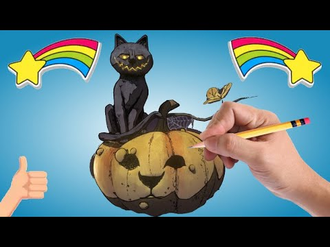 Dessin Chat Citrouille Halloween Facile