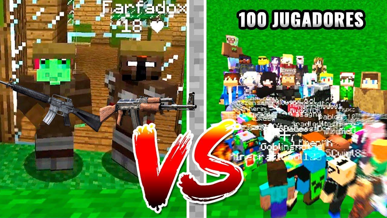 2 jugadores vs 100 jugadores en Minecraft pero con armas de fuego