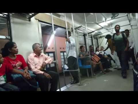 Karaoke singer at maho train