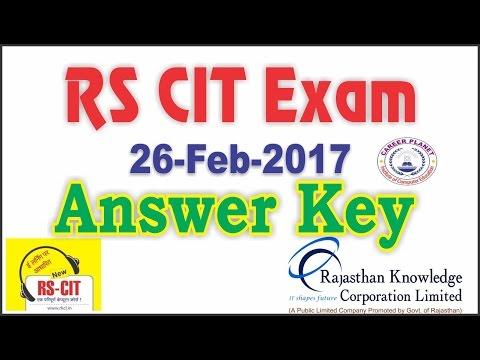 RSCIT Exam Answer Key Feb Rkcl Rscit Exam Ans Keyrscit - 26 feb