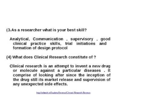 common interview questions for clinical research associate