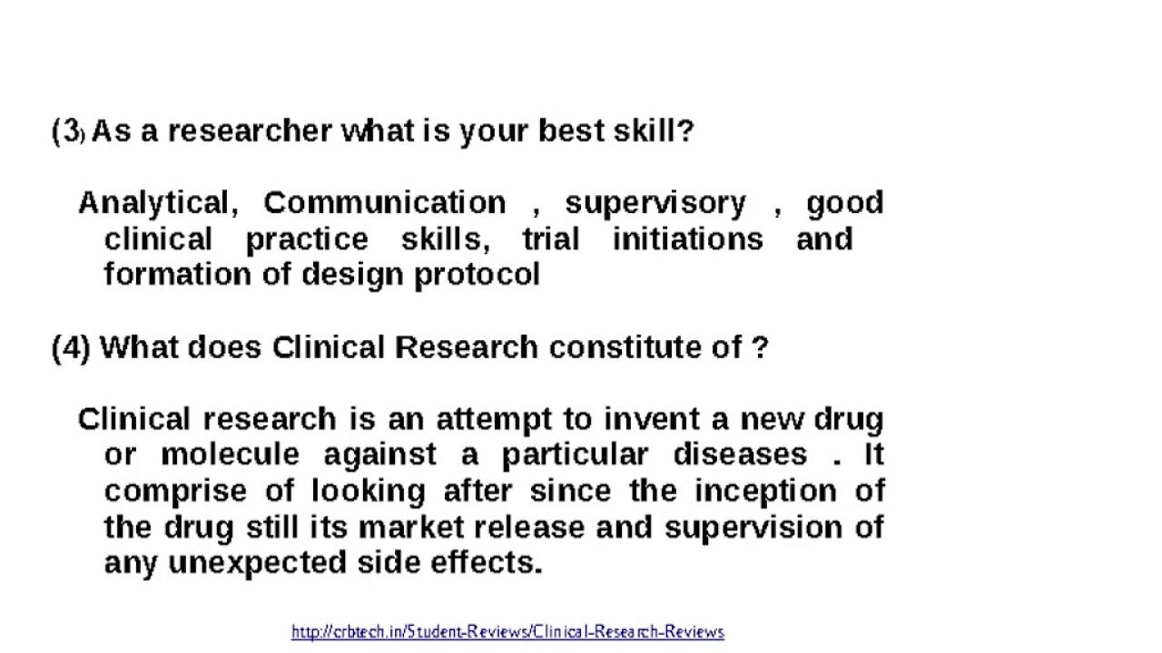 Common Interview Questions For Clinical Research Associate   YouTube  Common Interview Questions