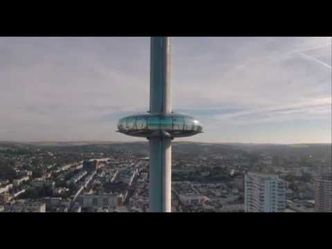 Drone View of British Airways i360, World's Tallest Moving Observation Tower