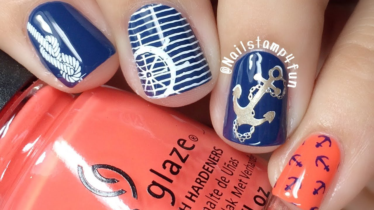 How to: Nautical Nails Nail Stamping - YouTube