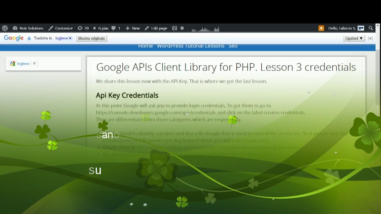 Google Api Key PHP Lesson 3 Credential
