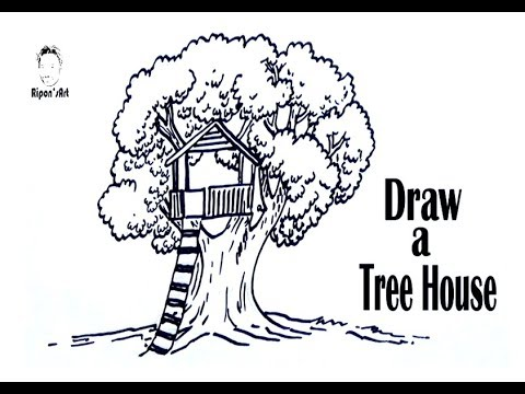 how to draw a treehouse step by step. Modren Draw How To Draw A Tree House Step By  Drawing Lesson For Kids  U0026 Beginners Riponu0027s Art To Draw A Treehouse Step By L