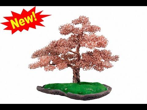 copper wire bonsai tree sculpture