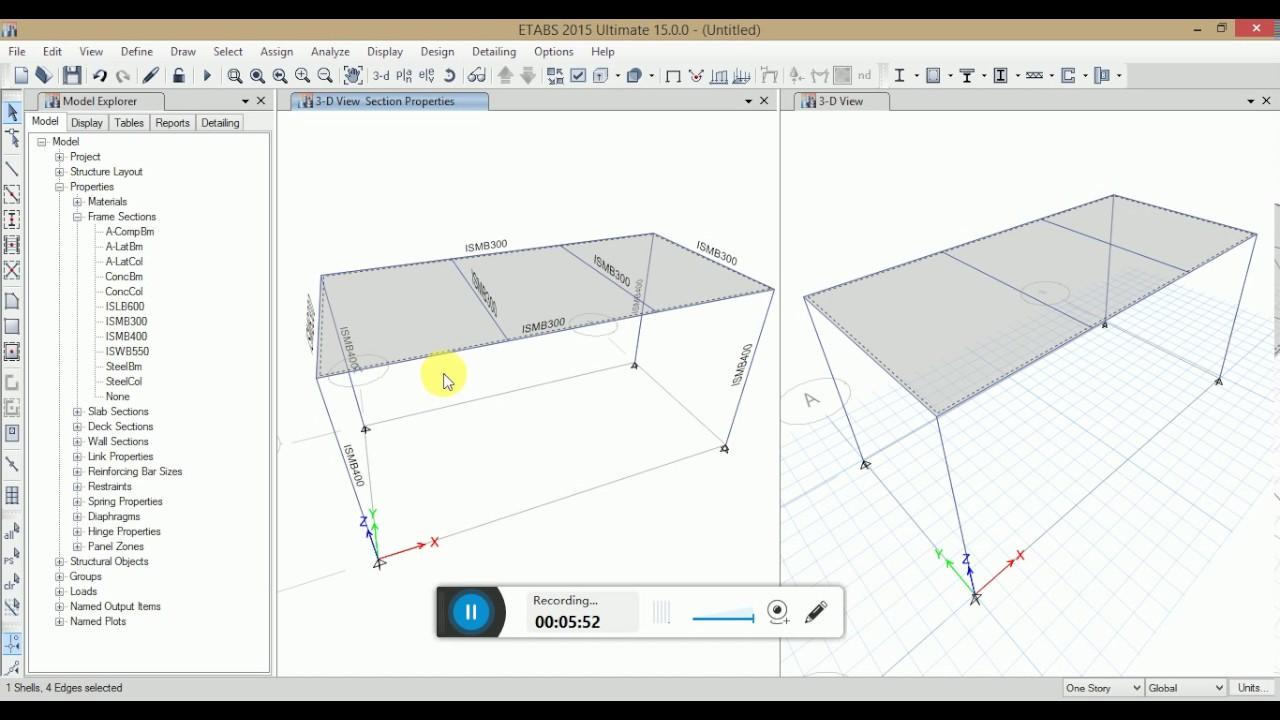 STEEL FRAME DESIGN IN ETABS 2015(introductory tutorial) - YouTube