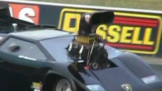 LAMBORGHINI DRAG CAR ( IB6UB9 ) HITS THE WALL AT FULL THROTTLE FRIDAY - 18.2.2011