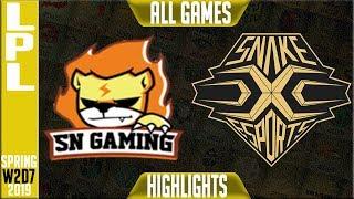 SN vs SS Highlights ALL GAMES | LPL Spring 2019 Week 2 Day 7 | Suning Gaming vs Snake Esports