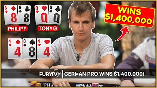 German Poker Pro Runs like a GOD and WINS $1,400,000!