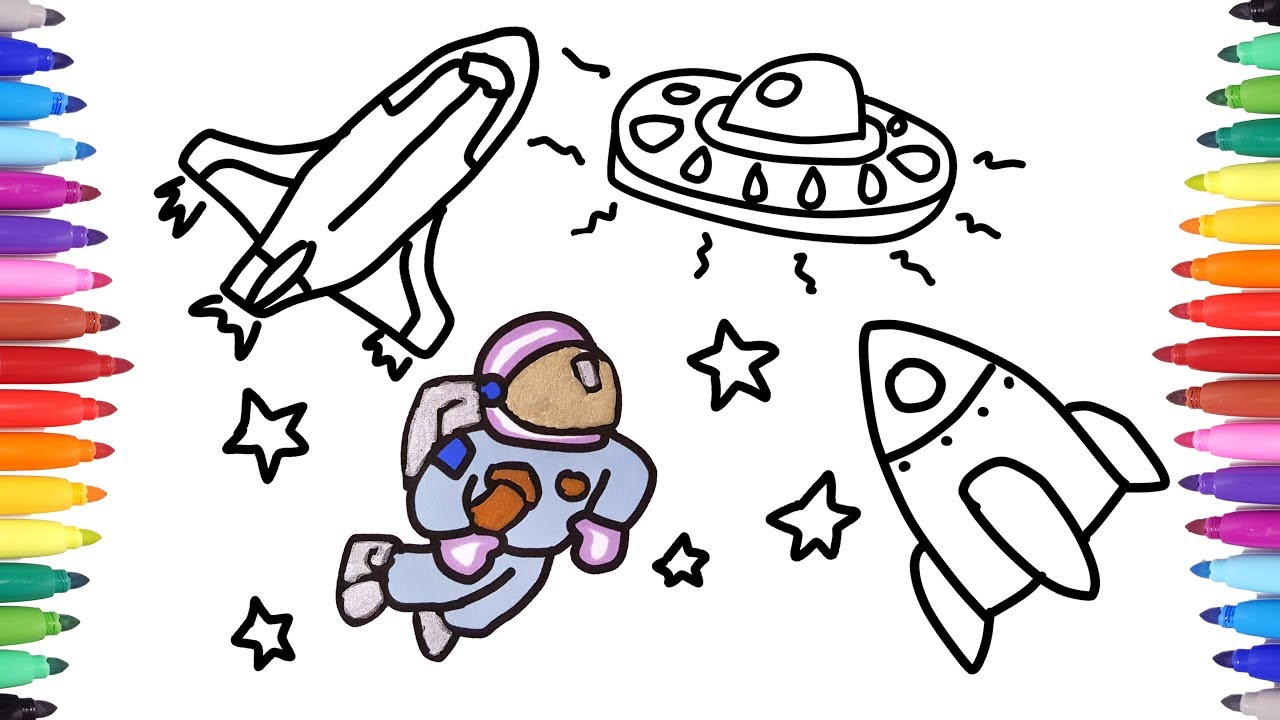 how to draw astronaut space suit and spaceship ufo drawing and painting for kids space travel