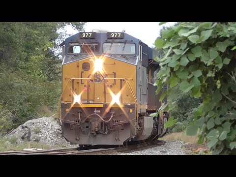 [1M] CSX Train Goes into Emergency with Two Scary Bangs, Hull - Auburn GA, 09/24/2015 ©mbmars01