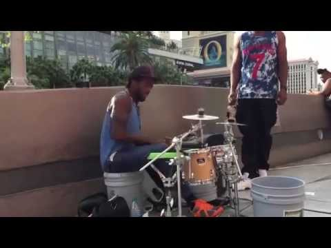 The Best Street drummer in Vegas Hands Down !!!