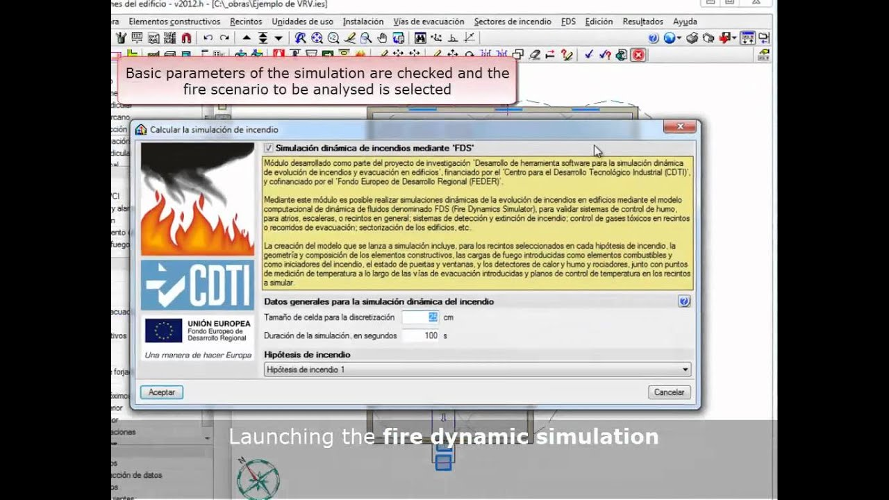 Dynamic fire simulation using the Fire Dynamics Simulator (FDS)