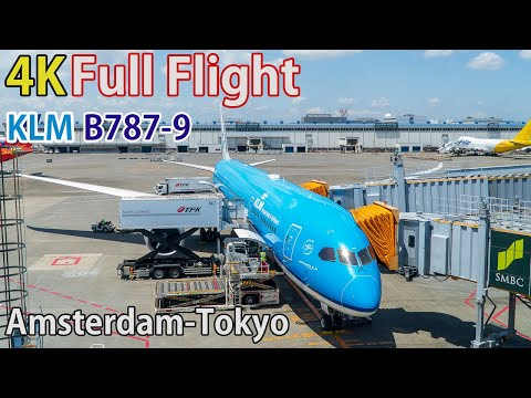 Full Flight Video, Amsterdam (Schiphol) To Tokyo (Narita), KL0863, B787-9, KLM [4K]