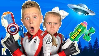 Kids Hunt the Aliens! (with Avengers Endgame Nerf Blasters) KIDCITY