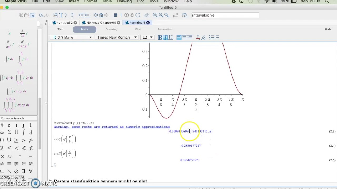 Temarapport om integral- og differentialregning i Maple