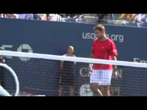 US Open 2013   Semi Final   Wawrinka snaps his racket over his knee   Novak Djokovic vs Stanislas Wa