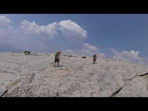 Walk across top of Half Dome to Western Edge met Summiting Barefoot(1) Rockclimber 8/23/17