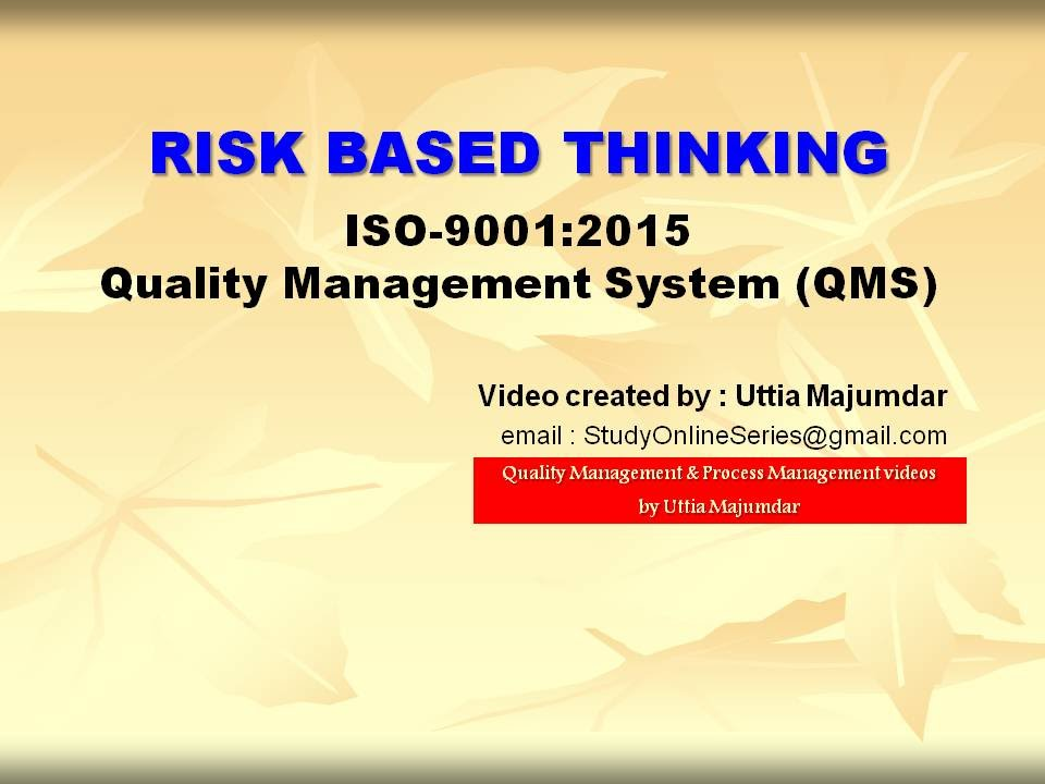 Risk Based Thinking Iso 9001 2015 Quality Management