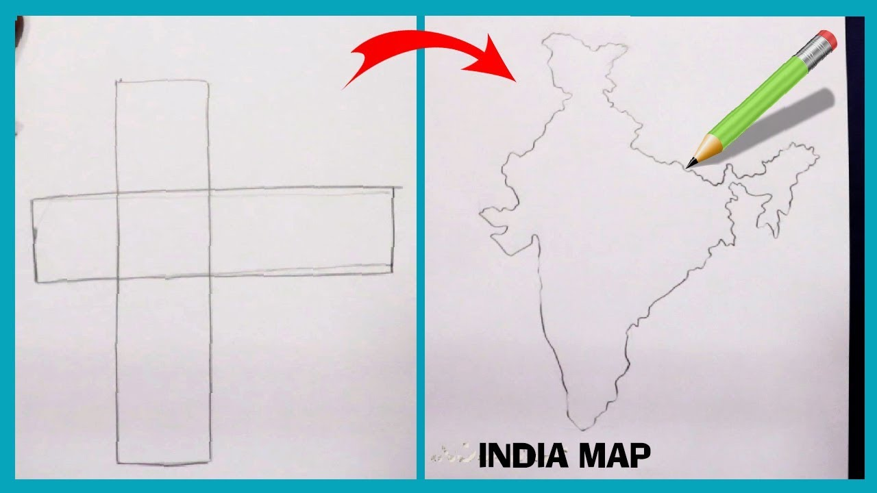 How to draw INDIA map easy way || how to draw INDIA Map step by step Draw Map Of India on