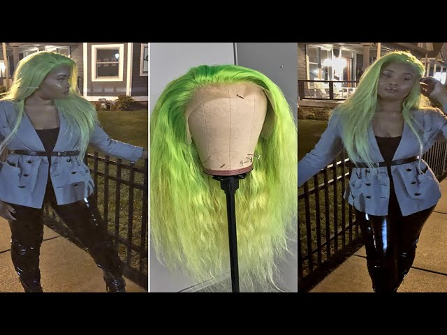 Neon Lime Green / Neon Yellow Ombre hair. Water-color method. #Slime super Easy. SZA made me do it