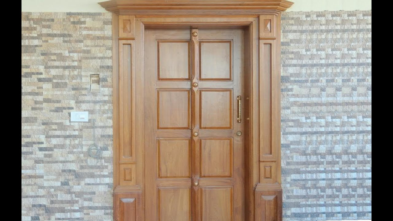 Kerala house design front door youtube for House front double door design