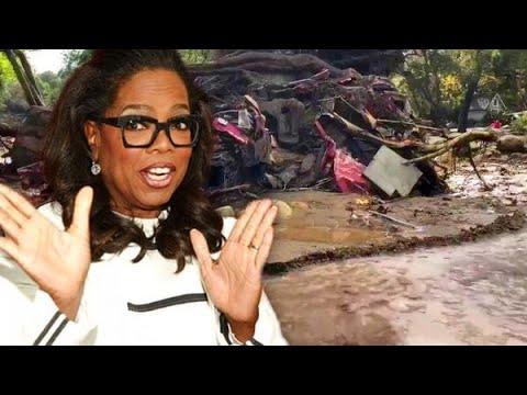 Oprah filmt modder-ravage Californië