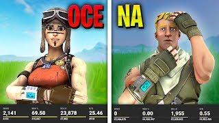 NA Stats vs. OCE Stats (Fortnite Battle Royale)