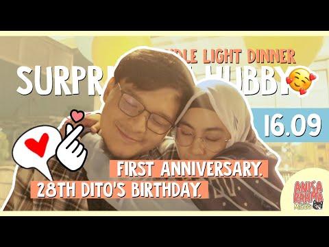 #VLOG 90 - HAPPY 1ST ANNIVERSARY, HUBBY! SURPRISE + CANDLE LIGHT DINNER || Anisa Rahma