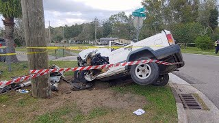 Driver injured after SUV goes airborne