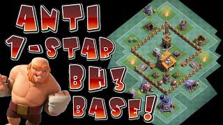 BUILDER HALL 3 (BH3) ANTI - 1 STAR TROPHY PUSHING BASE!  UNDEFEATED (BH3) BASE IN CLASH OF CLANS!!