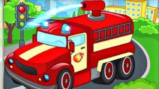 Мультфильм для детей. Конструктор пазл - Пожарная машина
