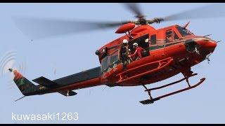 """富山県防災ヘリコプター""""とやま"""" JA6768 吊り上げ救助訓練 ベル412EP 2015.03.22"""