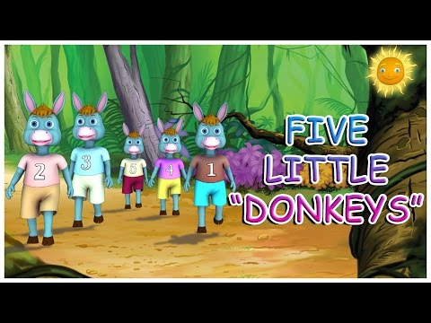 Five Little Donkeys Jumping on the Bed || Nursery Rhyme and 3D Animation Rhymes