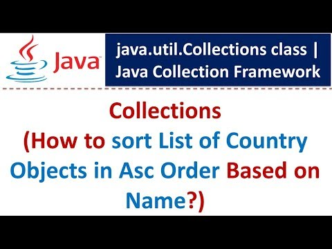 Java : Collection Framework : Collections (Sort List of Country Objects in Asc Order Based on Name)