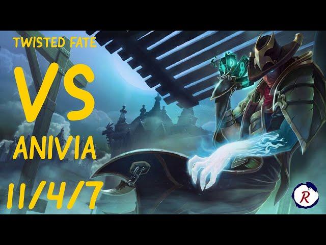 TWISTED FATE VS ANIVIA MID - 11 / 4 / 7 KDA