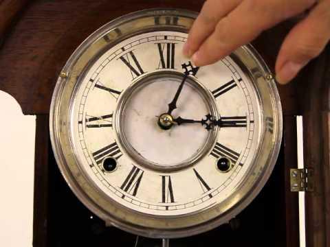 Victorian Waterbury Antique 1890 Walnut Clock, Lion Head H-20975
