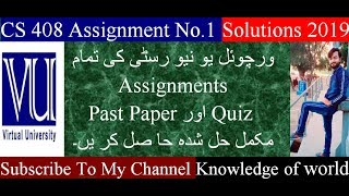 CS 408 Assignment No.1 Solution 2019//knowledge of world