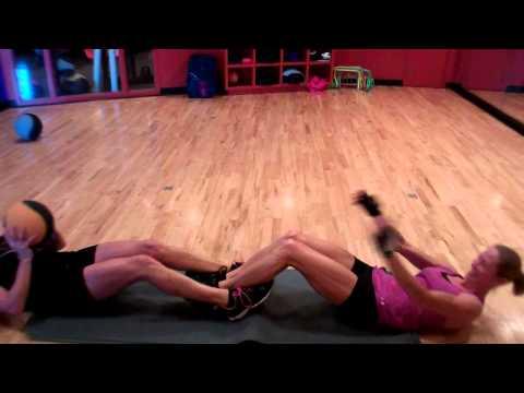 Partner Sit-ups w/ med ball toss